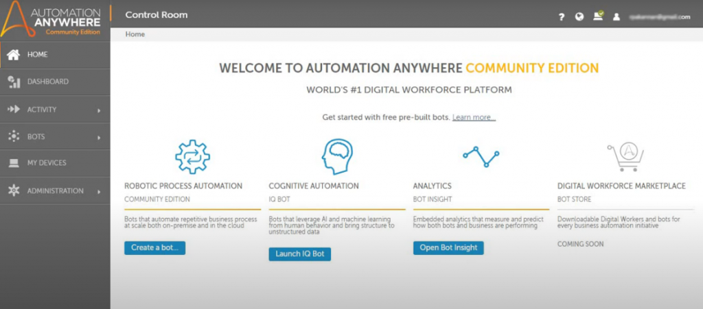 Automation Anywhere Community edition dashboard