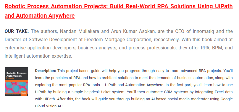 Robotic Process Automation (RPA) Projects Book